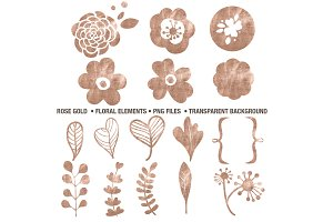 Rose Gold Floral Elements PNG's