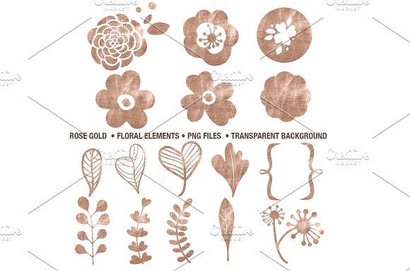 Rose Gold Floral Elements PNG's