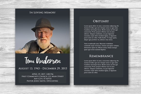 Funeral Program Photoshop Template Brochure Templates on – Funeral Templates
