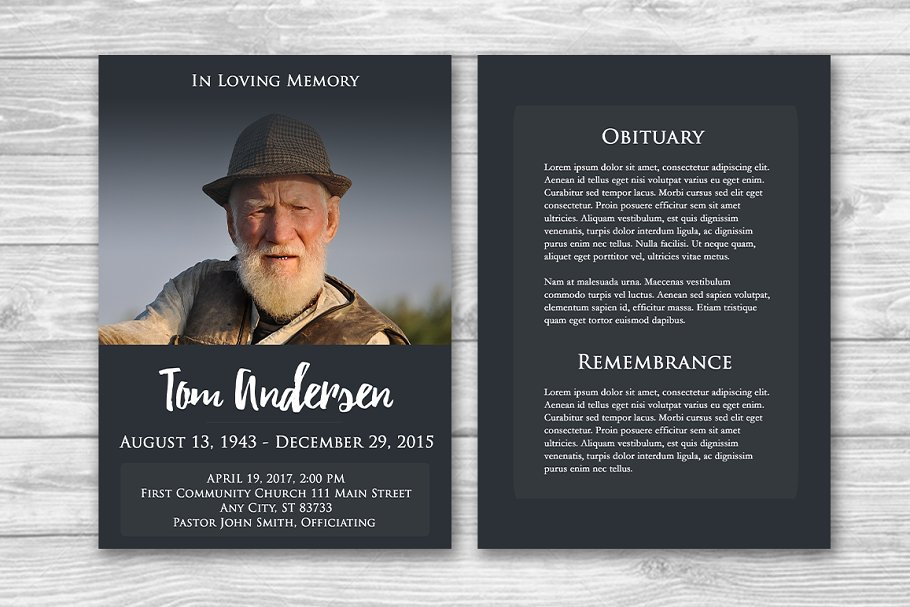 Funeral Program Photoshop Template in Brochure Templates - product preview 8