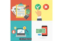 Flat designed business concepts with work items