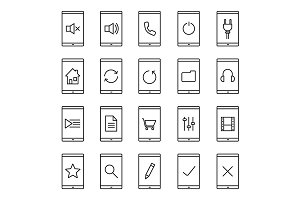 Smartphone. 20 icons. Vector