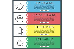 Tea brewing banners. Vector