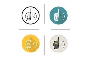 Walkie talkie. 4 icons. Vector