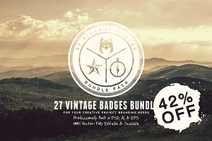 27 Vintage Badges Bundle