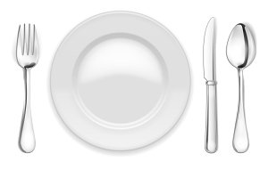 empty plate, spoon and fork