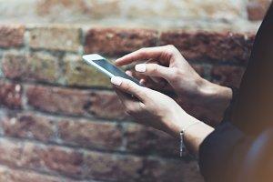 Women using smartphone isolated