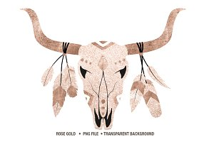 Rose gold and glitter cow skull PNG