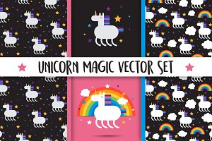 Unicorn magic vector set