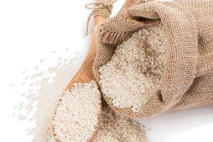 Rice in burlap bag.