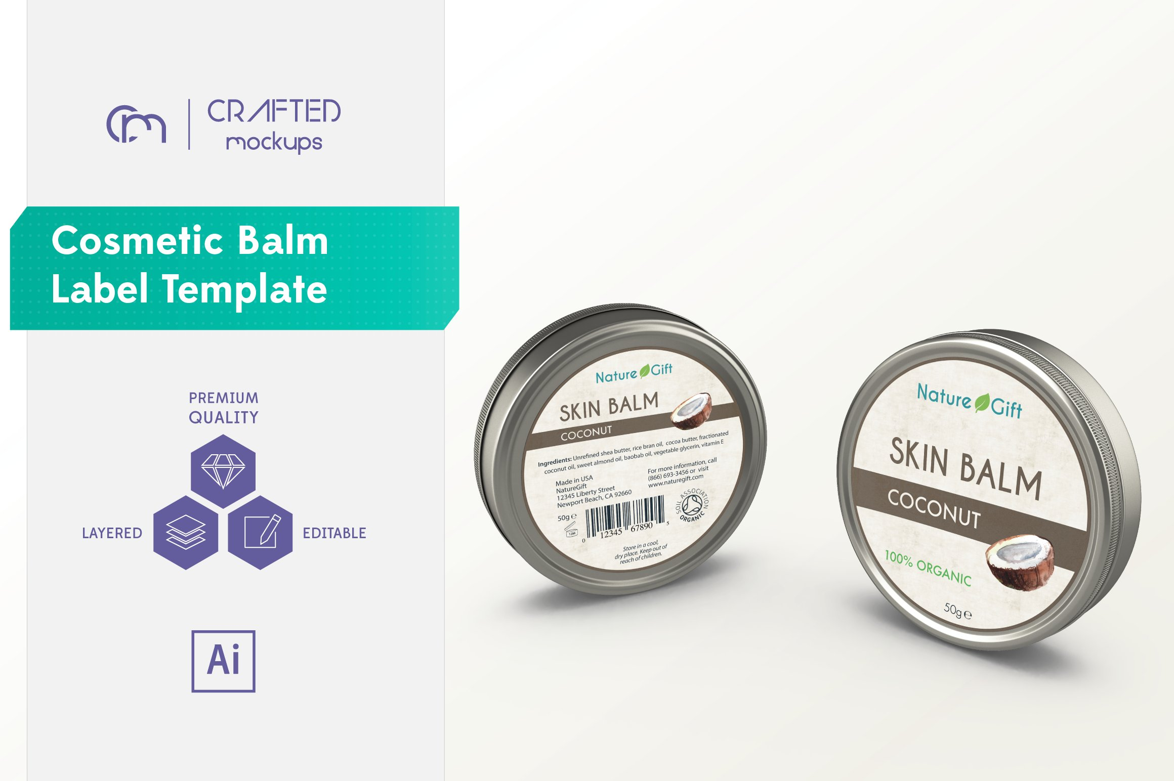 Cosmetic balm label template templates creative market for Cosmetic label templates