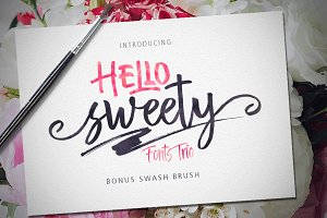 Hello Sweety (Fonts Trio+Swash)
