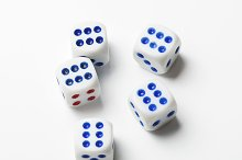 Dice with number six on white background. Isolated.