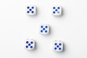Dice with number five on white background. Isolated.