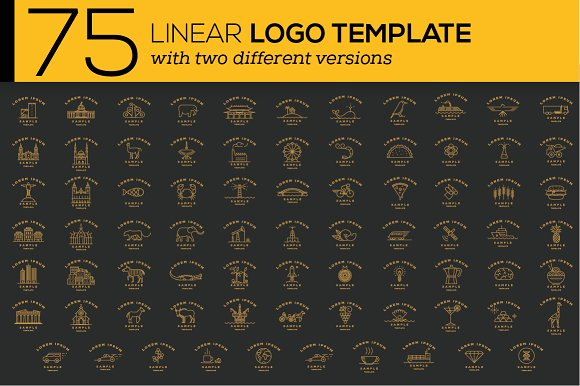 75 Linear Logo Templates-Graphicriver中文最全的素材分享平台
