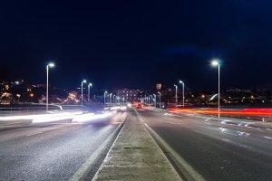 car streak lights at night