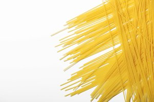 Spaghetti on white background. Isolate. Horizontal shoot.