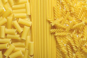 Background of macaroni and spaghetti.
