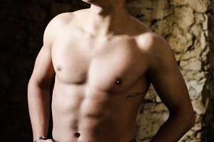 Caucasian White Man Posing Topless