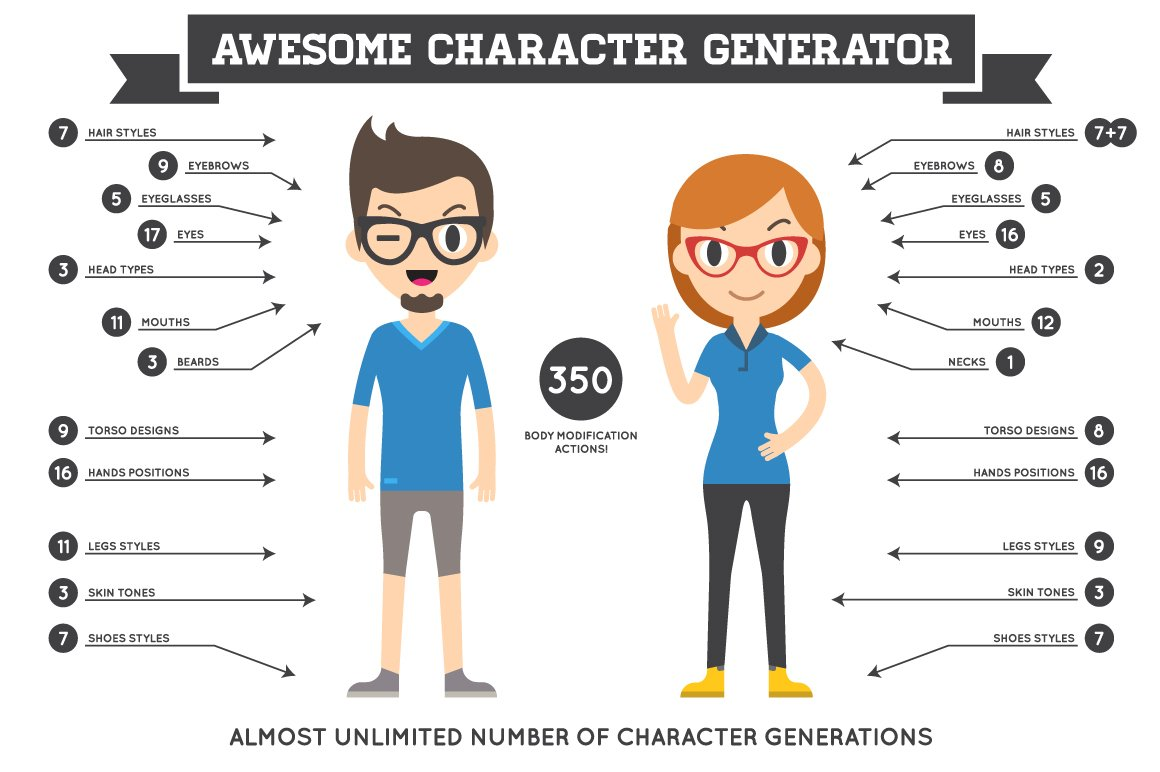 awesome character generator 1 0 illustrations creative market