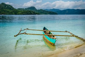 Colourful Local Boat on Friwen Island, West Papuan, Raja Ampat, Indonesia