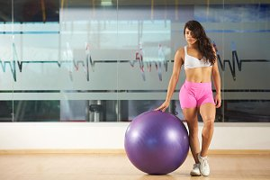Girl with fit ball