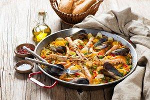 Spanish paella with seafood.