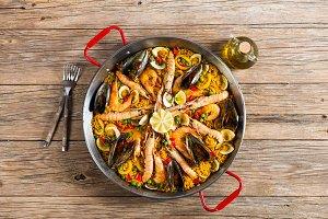 Spanish paella, above view.