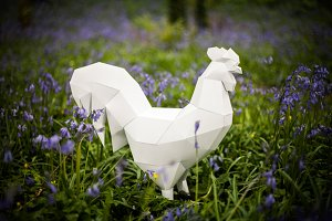 Printable Paper Rooster Template