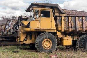 Abandoned heavy construction truck