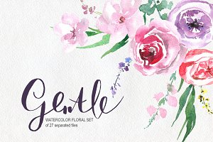 Gentle watercolor flowers, leaves