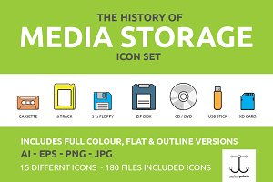 Media Storage Icon Set