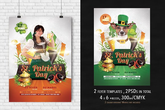 2 st patrick s day flyer 4x6 flyer templates creative market