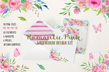 Watercolor Design Kit Romantic Pink