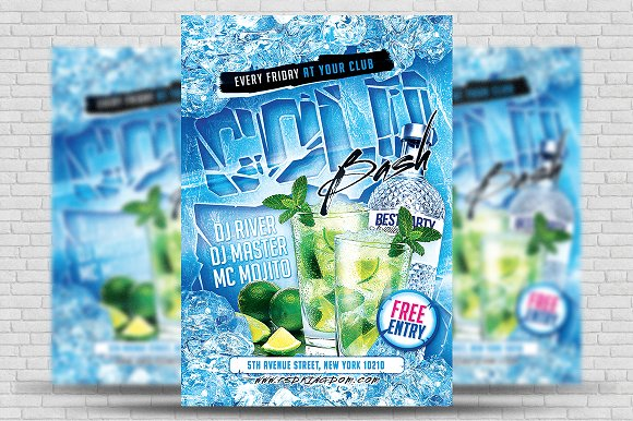 cold winter bash party flyer 4x6 flyer templates creative market