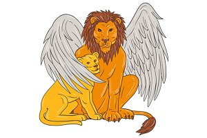 Winged Lion With Cub