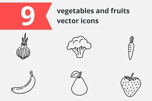 9 vegetables and fruits vector icons