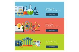 science research education banners