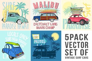 Vector Set Of Vintage Five Surf Cars