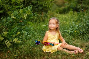 Little girl with pinwheel