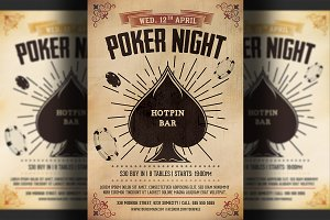 Vintage Poker Night Flyer Template