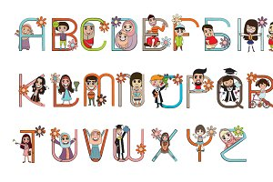 Cartoon Character Font Design Vector