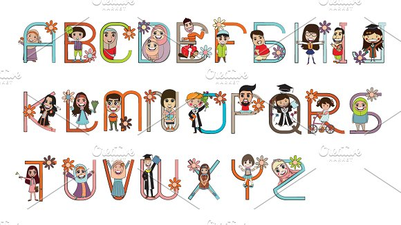 9 Letter Cartoon Characters : Cartoon character font design vector symbol fonts on