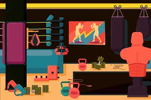 Flat colorful gym.