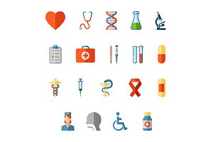 Healthcare and medical flat icons