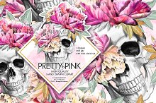Pretty in Pink Sugar Skull Clipart