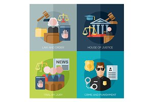 crime, punishment, law icons