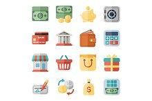 money, finance, shopping flat icons