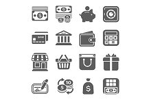 money, finance, shopping icons