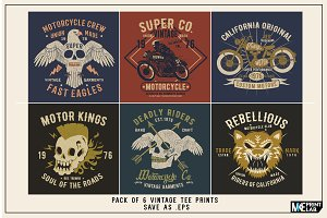 PACK OF 6 VINTAGE TEE VECTOR PRINTS